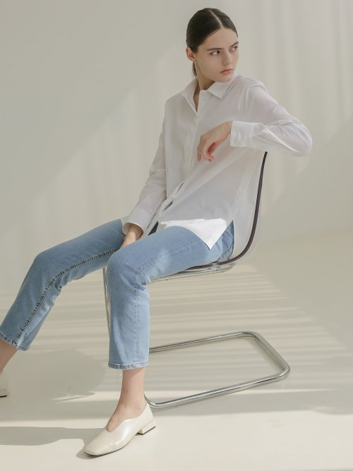 001 Basic Shirring White Shirt