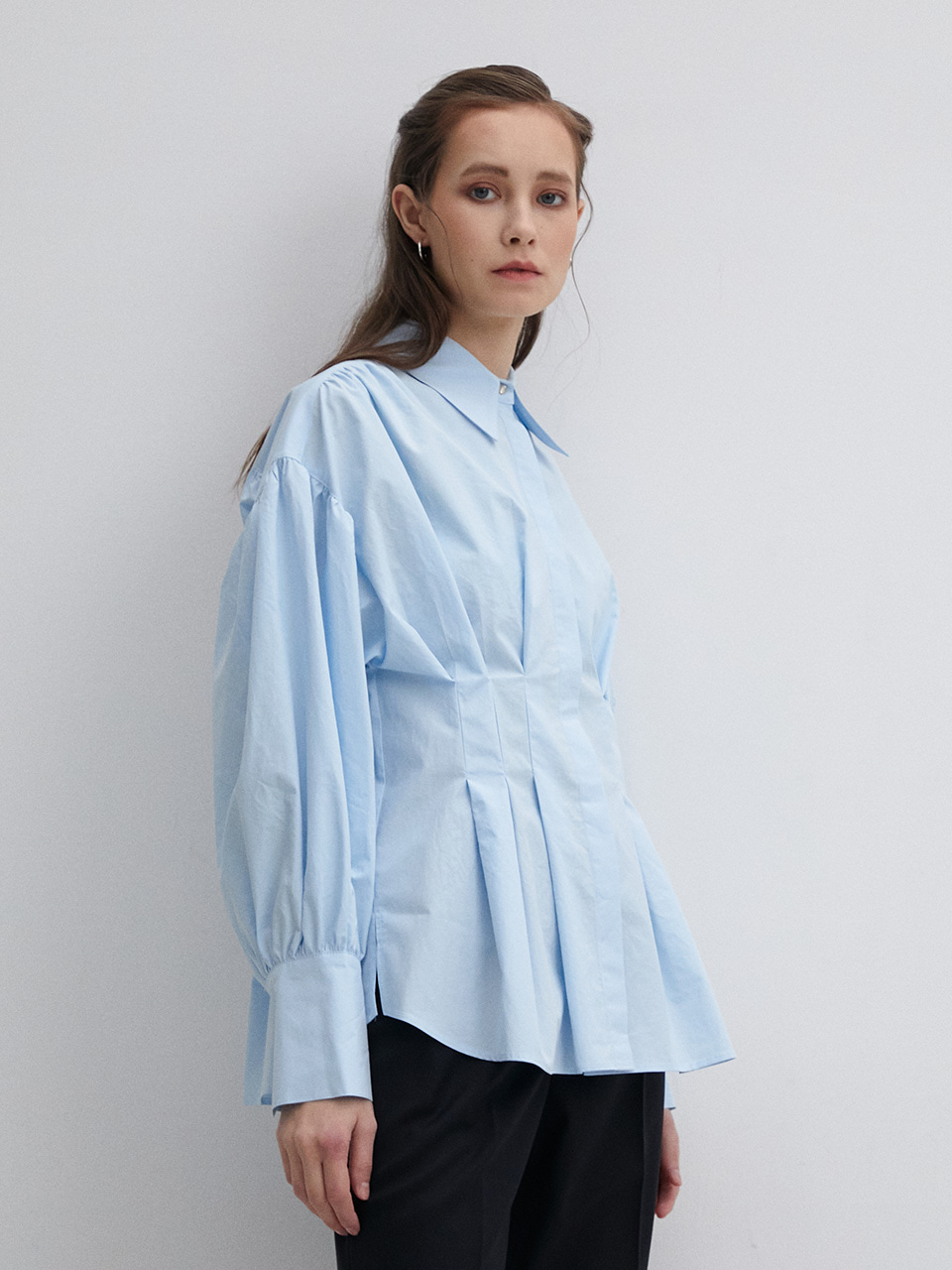 003 Volume Oversized Cotton Shirt - Light Blue