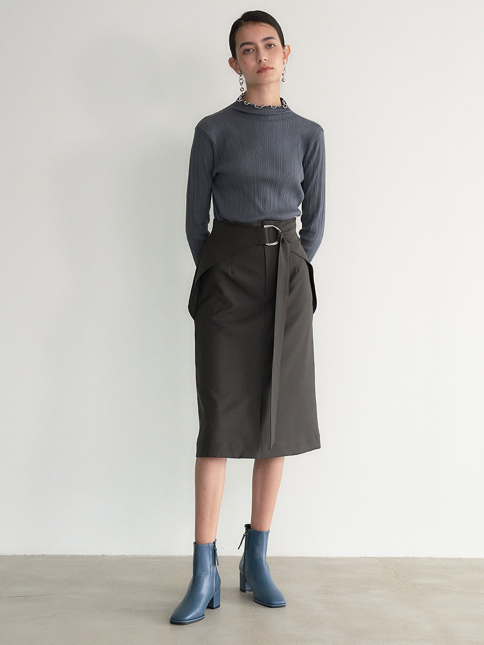 004 D Belted Midi Wrap Skirt (Deep Brown)