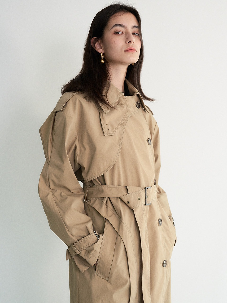 [9/23 예약배송] 004 Curve Brown Long Trench Coat