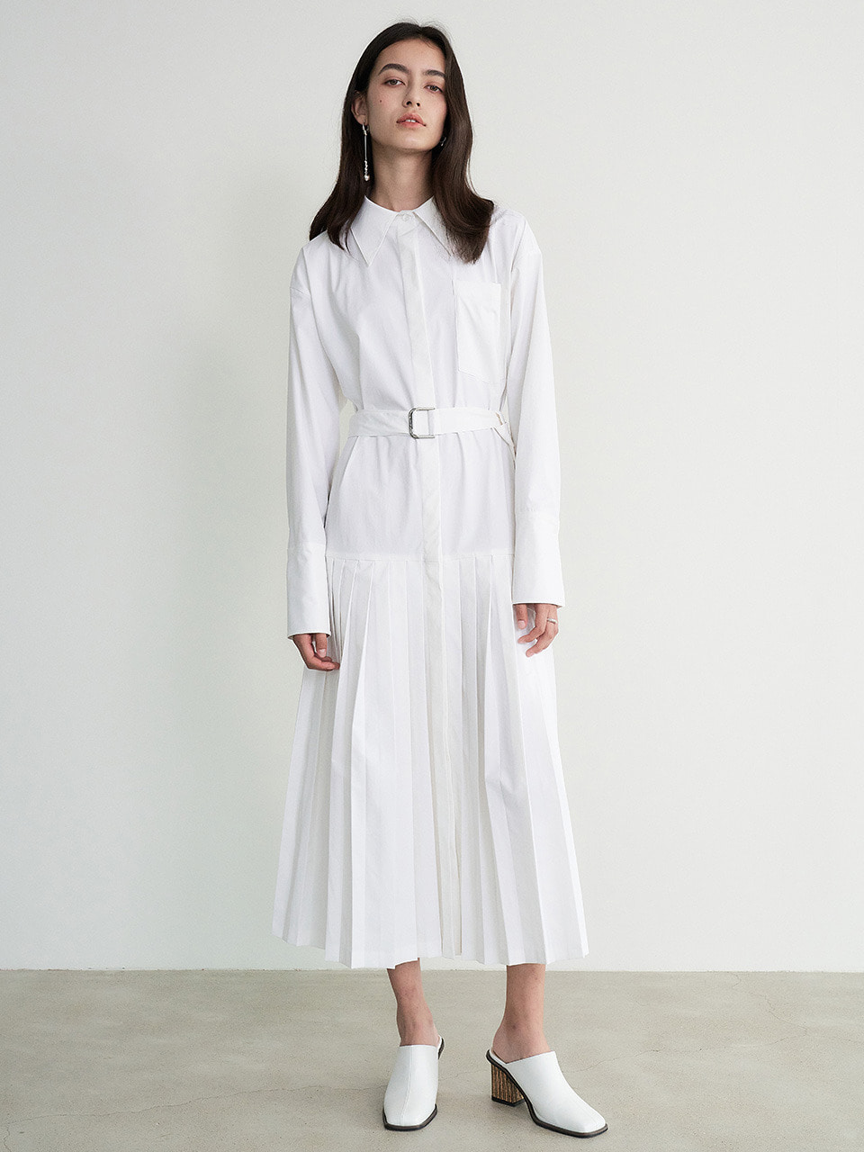 [9/23 예약배송] 004 Pleated Cotton White Shirt Dress