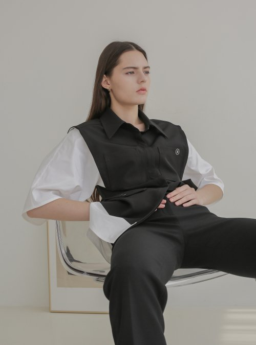 001 Black Layerd Sleeve Shirt