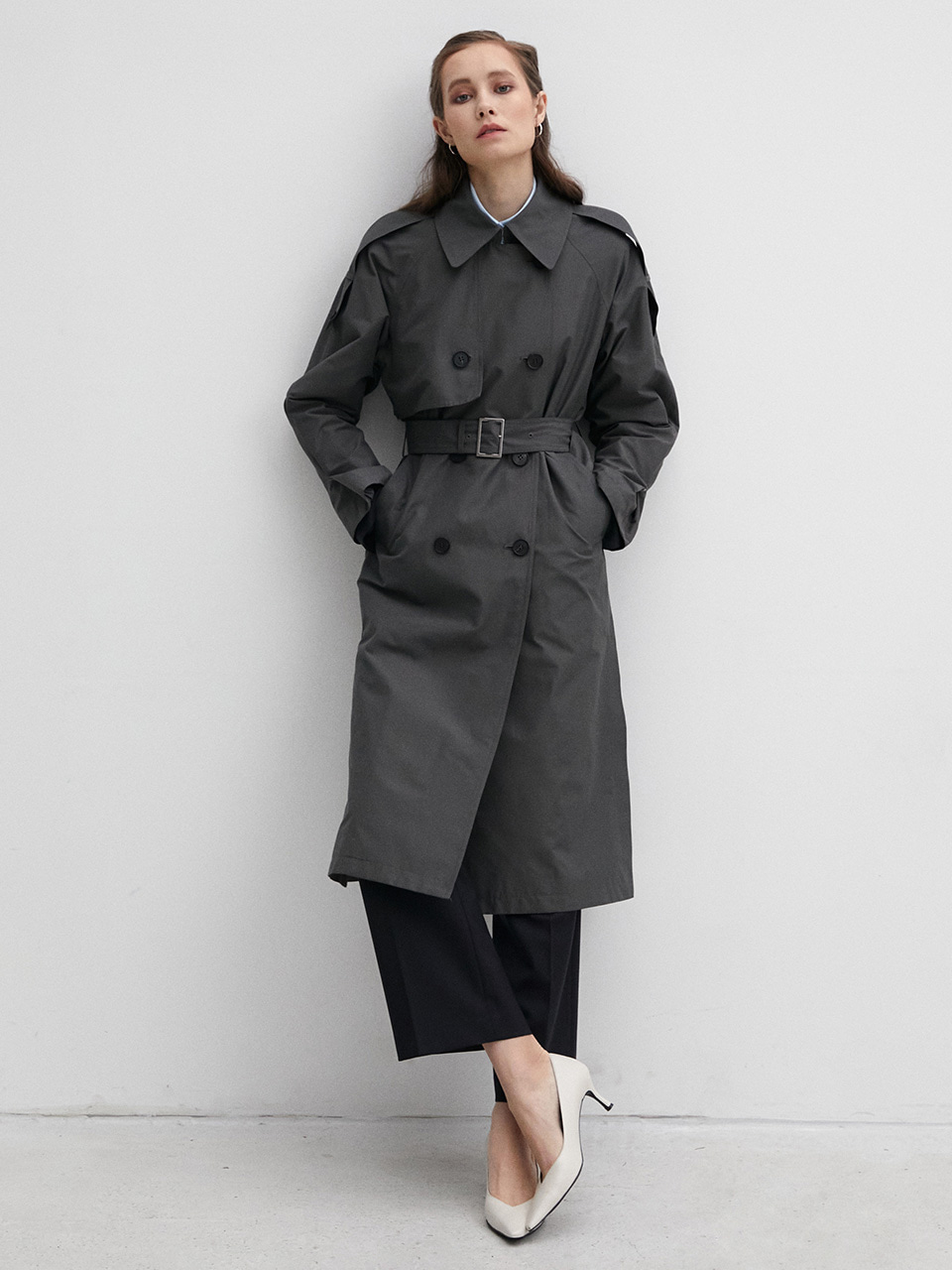 003 Grey Long Trench Coat