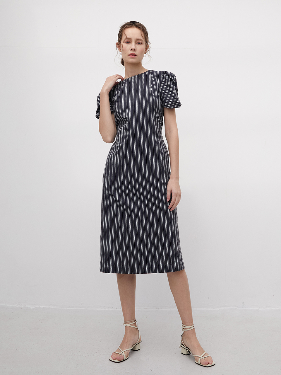 Navy Stripe Sleeve Twist Dress