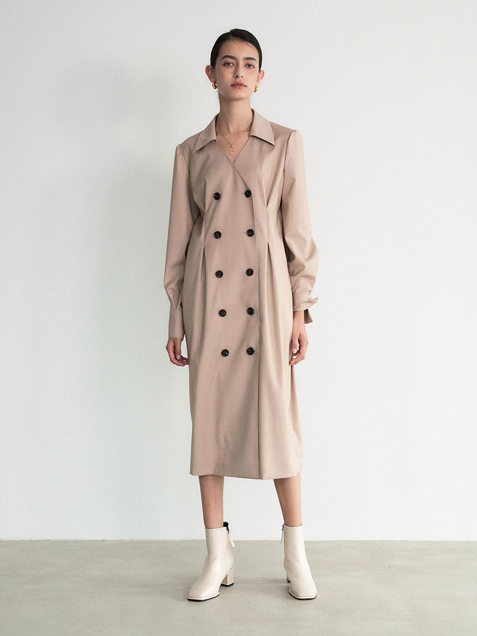 004 Double-breasted Jacket Dress (Brown)