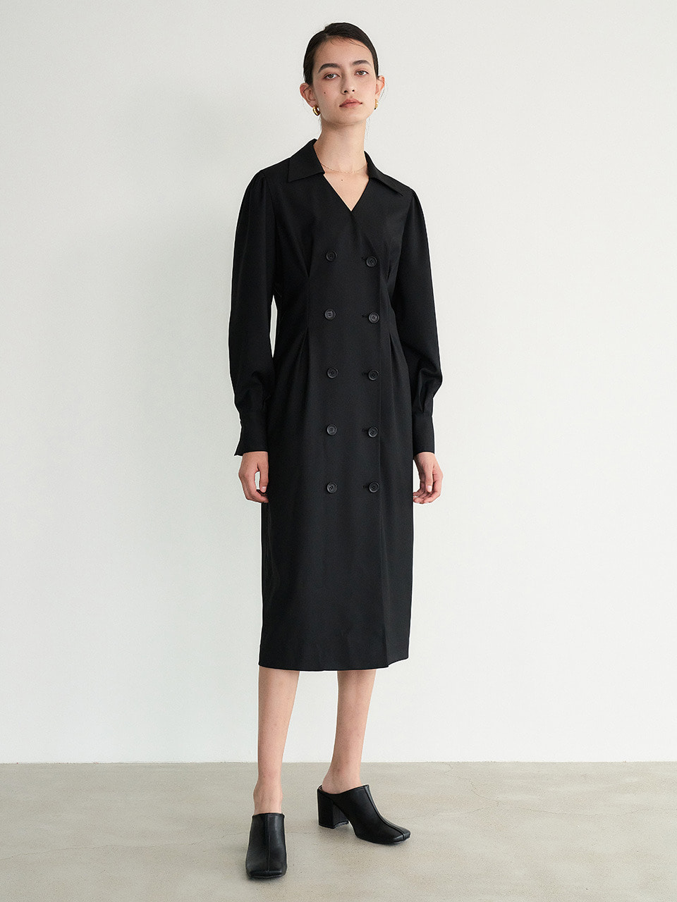004 Double-breasted Jacket Dress (Black)
