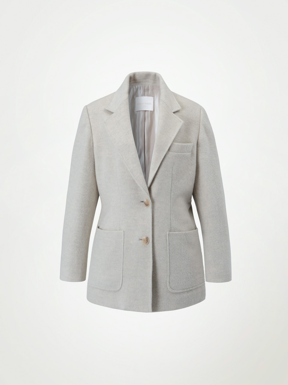 4W Premium Wool Two Button Jacket - Ivory